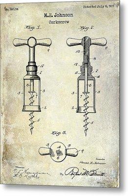 1907 Corkscrew Patent  Metal Print