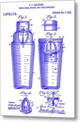 1913 Cocktail Shaker Patent Blueprint Metal Print by Jon Neidert