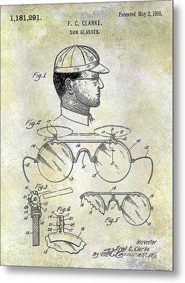 1916 Sunglasses Patent Metal Print
