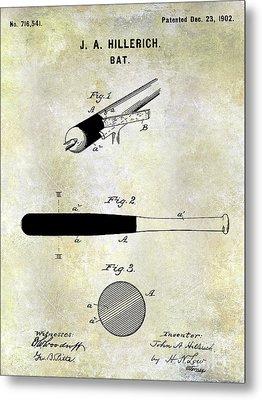 1920 Baseball Bat Patent Metal Print by Jon Neidert