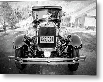 Metal Print featuring the photograph 1929 Ford Model A Tudor Police Sedan Bw by Rich Franco