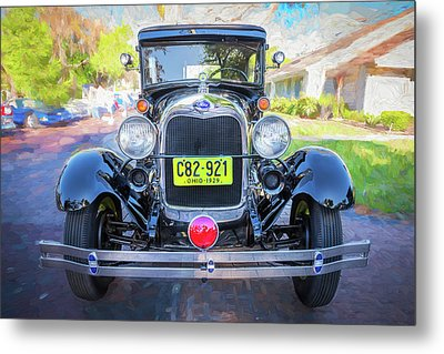 Metal Print featuring the photograph 1929 Ford Model A Tudor Police Sedan  by Rich Franco