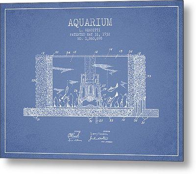 1932 Aquarium Patent - Vintage Metal Print