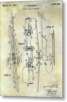 1935 Helicopter Patent  Metal Print by Jon Neidert