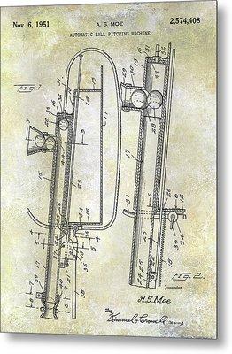 1951 Baseball Pitching Machine Patent Metal Print
