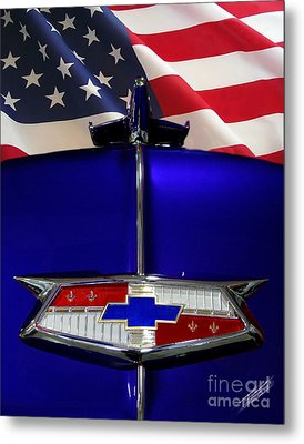 1954 Chevrolet Hood Emblem Metal Print by Peter Piatt