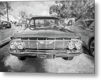 Metal Print featuring the photograph 1961 Chevrolet Impala Ss Bw by Rich Franco