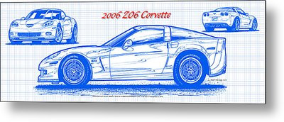 2006 Z06 Corvette Blueprint Series Metal Print