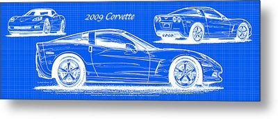 Metal Print featuring the drawing 2009 C6 Corvette Blueprint by K Scott Teeters