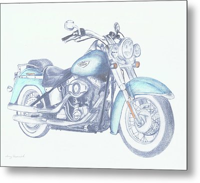 Metal Print featuring the drawing 2015 Softail by Terry Frederick