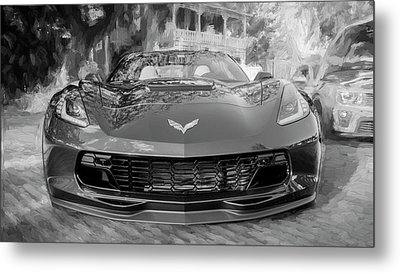 Metal Print featuring the photograph 2017 Chevrolet Corvette Gran Sport Bw by Rich Franco