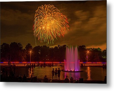 4th Of July Fireworks In Forest Park Metal Print by Garry McMichael