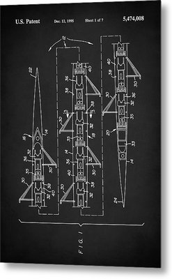 Metal Print featuring the digital art 8 Man Rowing Shell Patent by Taylan Apukovska