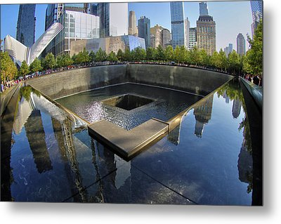 Metal Print featuring the photograph 9/11 Memorial by Mitch Cat