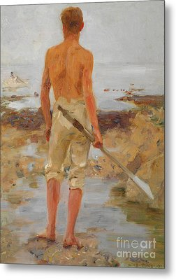 A Boy With An Oar  Metal Print by Henry Scott Tuke