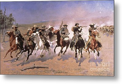 A Dash For The Timber Metal Print by Frederic Remington