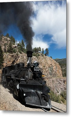 A Durango And Silverton Narrow Gauge Scenic Railroad Train Chugs Through The San Juan Mountains Metal Print by Carol M Highsmith