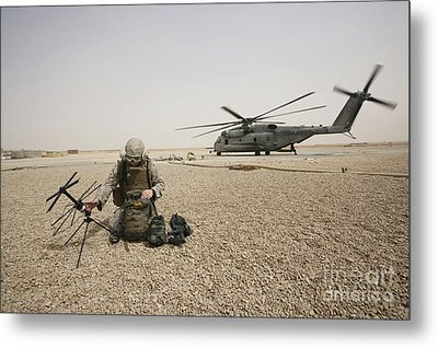 A Field Radio Operator Sets Metal Print by Stocktrek Images