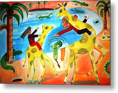 A Fine Day For Riding Giraffes Metal Print by Ward Smith