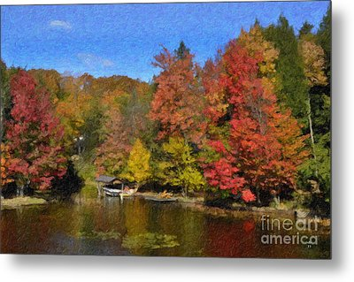 Metal Print featuring the painting A Little Piece Of Adirondack Heaven by Diane E Berry