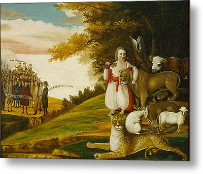 A Peaceable Kingdom With Quakers Bearing Banners Metal Print