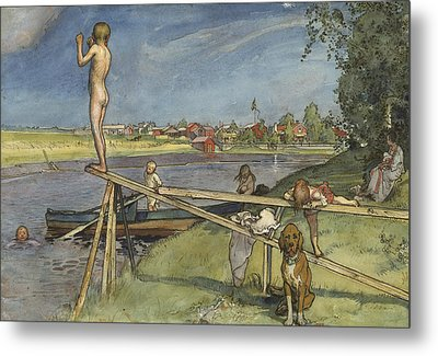 A Pleasant Bathing-place. From A Home Metal Print by Carl Larsson