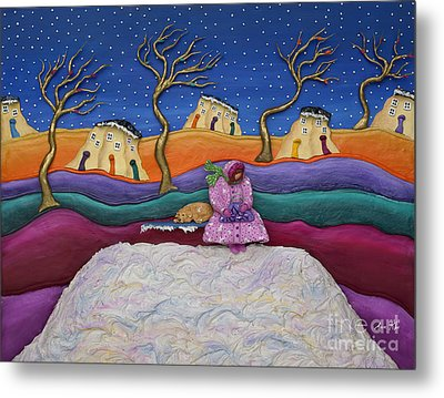 Metal Print featuring the sculpture A Snowy Night by Anne Klar