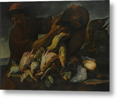 A Still Life Of Salt Water Fish With A Fisherman Metal Print
