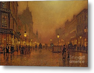 A Street At Night Metal Print by John Atkinson Grimshaw