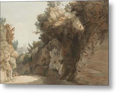 A View Near The Arco Scuro, Looking Towards The Villa Medici, Rome Metal Print