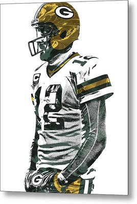 Aaron Rodgers Green Bay Packers Pixel Art 5 Metal Print by Joe Hamilton