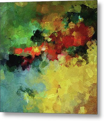 Metal Print featuring the painting Abstract And Minimalist  Landscape Painting by Ayse Deniz