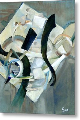 Abstract In Gray Metal Print by Kathy Dueker