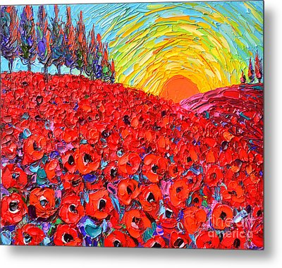 Abstract Landscape Tuscany Poppy Hills At Sunset Metal Print by Ana Maria Edulescu