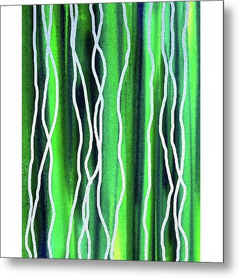 Abstract Lines On Green Metal Print