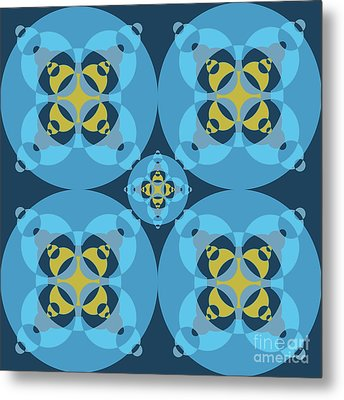 Abstract Mandala Cyan, Dark Blue And Yellow Pattern For Home Decoration Metal Print by Pablo Franchi