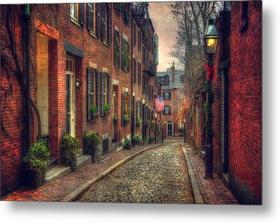 Acorn Street - Boston Metal Print by Joann Vitali