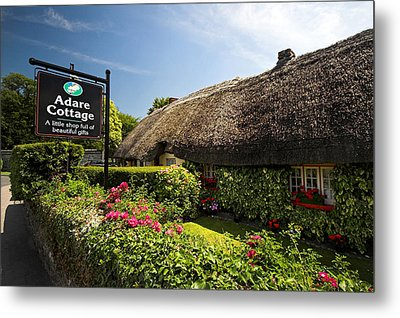 Adare Thatch Roof Cottages Ireland Metal Print by Pierre Leclerc Photography