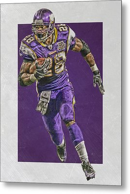 Adrian Peterson Minnesota Vikings Art Metal Print