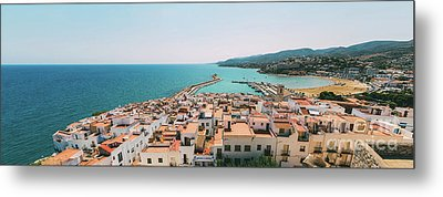 Aerial Panoramic View From Papa Luna Castle Of Peniscola City In Spain Metal Print