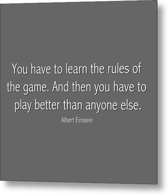 Albert Einstein Famous Quote In Gray Metal Print by Celestial Images