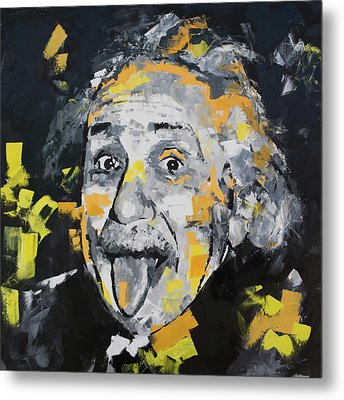 Metal Print featuring the painting Albert Einstein by Richard Day