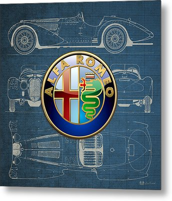 Alfa Romeo 3 D Badge Over 1938 Alfa Romeo 8 C 2900 B Vintage Blueprint Metal Print by Serge Averbukh
