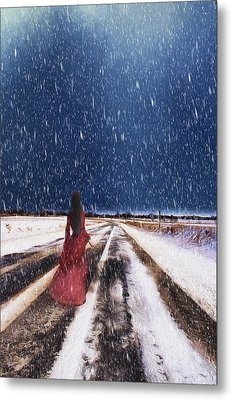 Alone In The Cold Metal Print by Darren Fisher