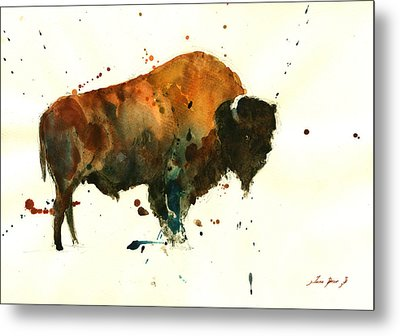 American Buffalo Watercolor Metal Print by Juan  Bosco