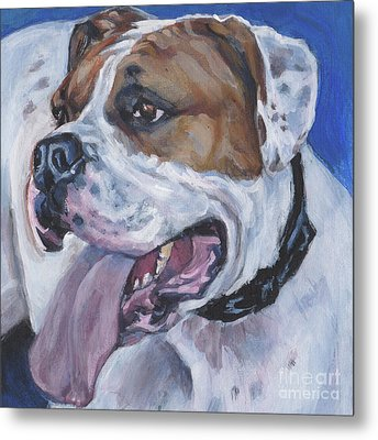 Metal Print featuring the painting American Bulldog by Lee Ann Shepard