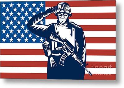American Soldier Saluting Flag Metal Print by Aloysius Patrimonio