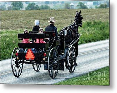 Amish Family Metal Print by John Greim