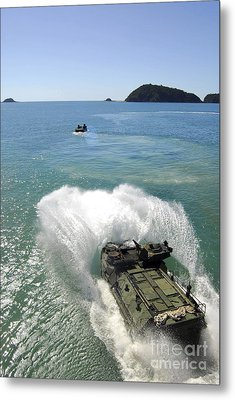 Amphibious Assault Vehicles Exit Metal Print by Stocktrek Images