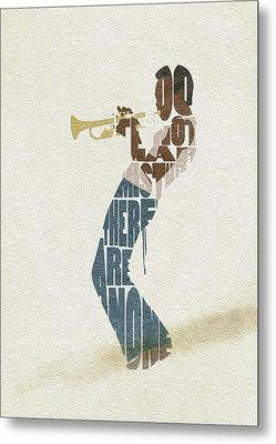 Metal Print featuring the digital art Miles Davis Typography Art by Inspirowl Design